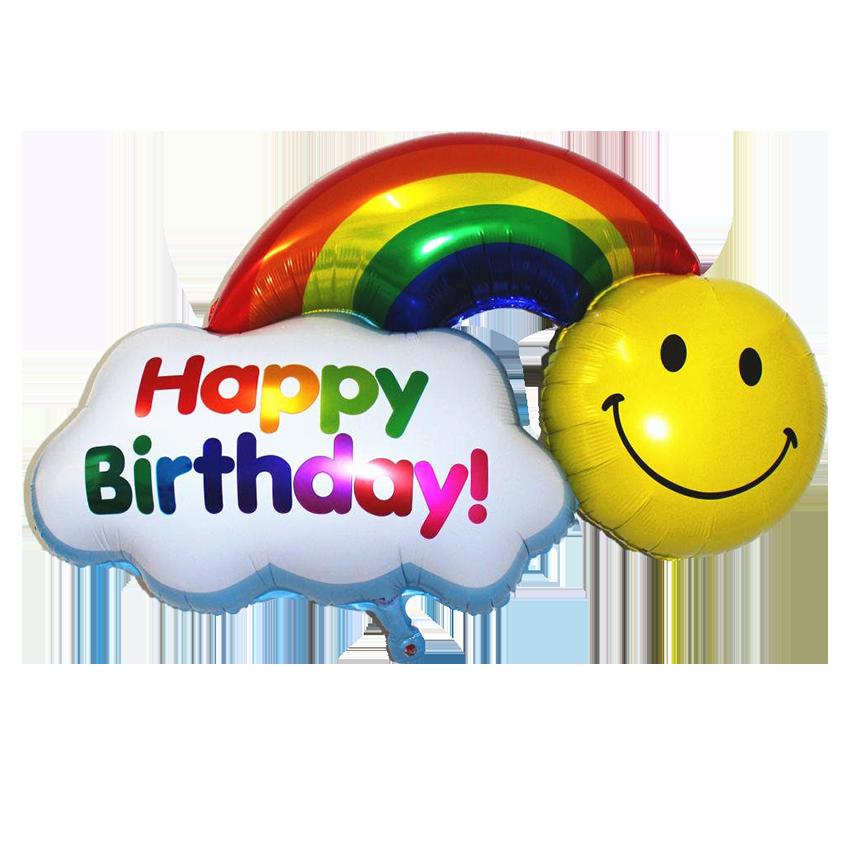 38 inch helium happy birthday rainbow smiley foil balloon ezvent